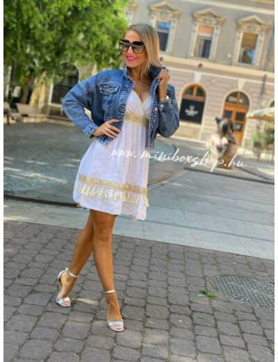 WHITE - GOLD vászon ruha