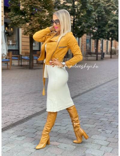EMILIE velúrkabát - Mustár