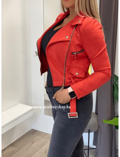 EMILIE velúrkabát - Piros