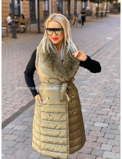 LEILA tűzött kabát/mellény - szőrmével