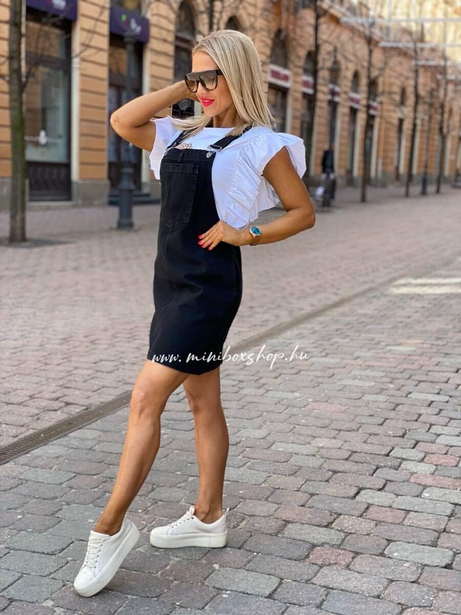 Fekete kantáros farmerruha