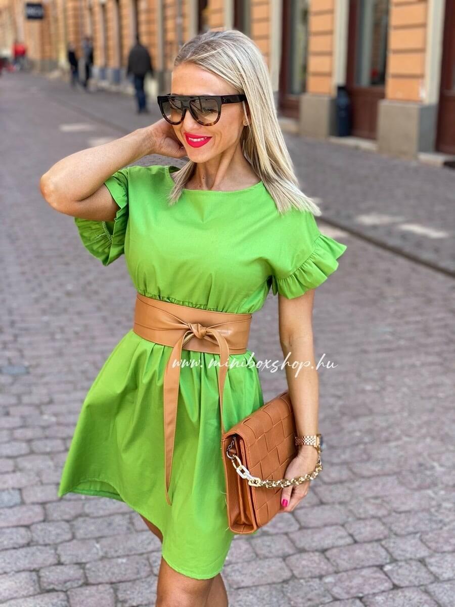 Tavaszi női ruha olívazöld színben