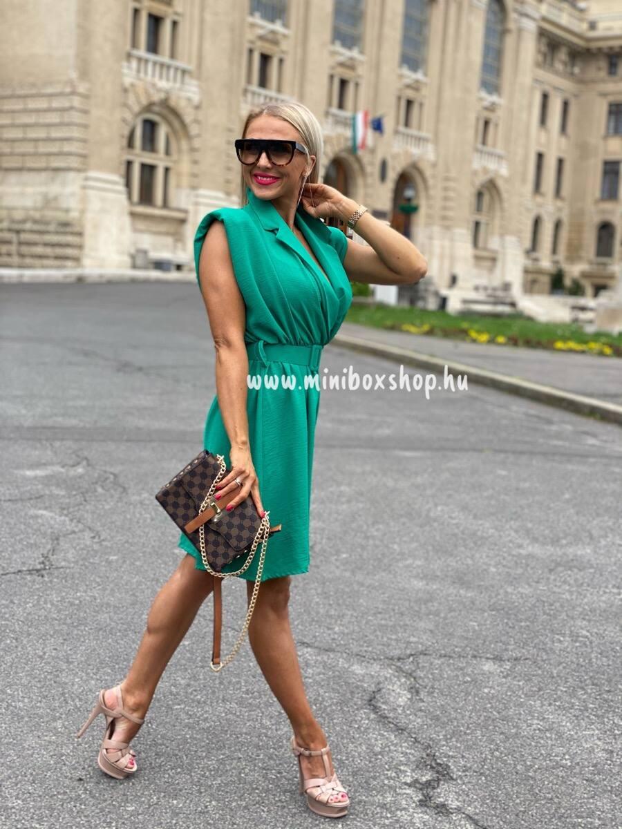 Mélyzöld öves ruha